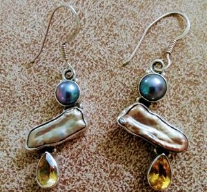 Sterling Silver Earrings with Pearls Citrine